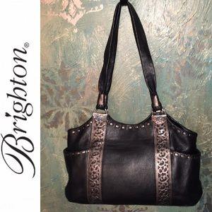 BRIGHTON black leather shoulder bag 297517